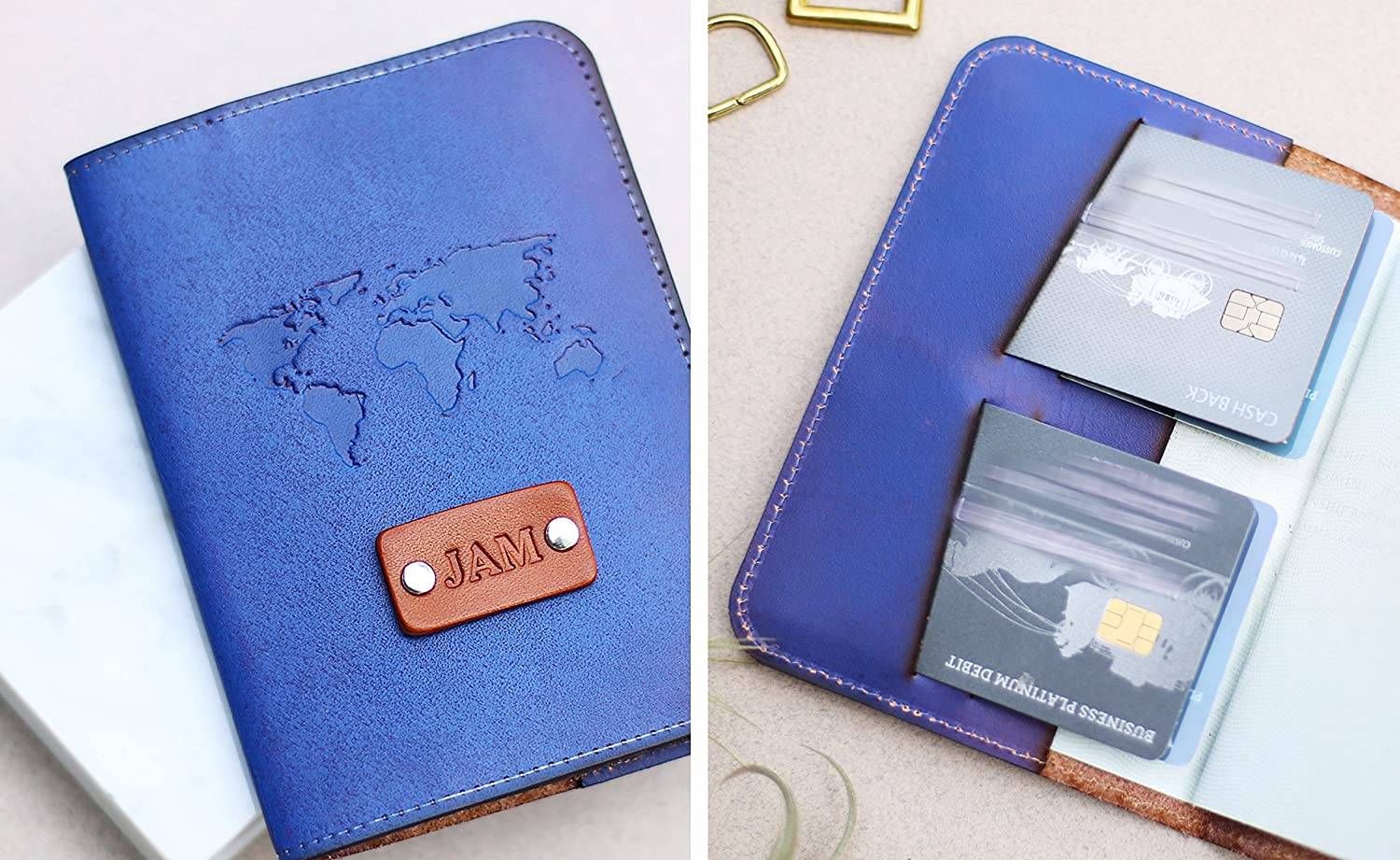 Personalized Leather Passport Cover, Travel Wallet, Leather, Credit Card holder, wanderlust World map handmade, name initials