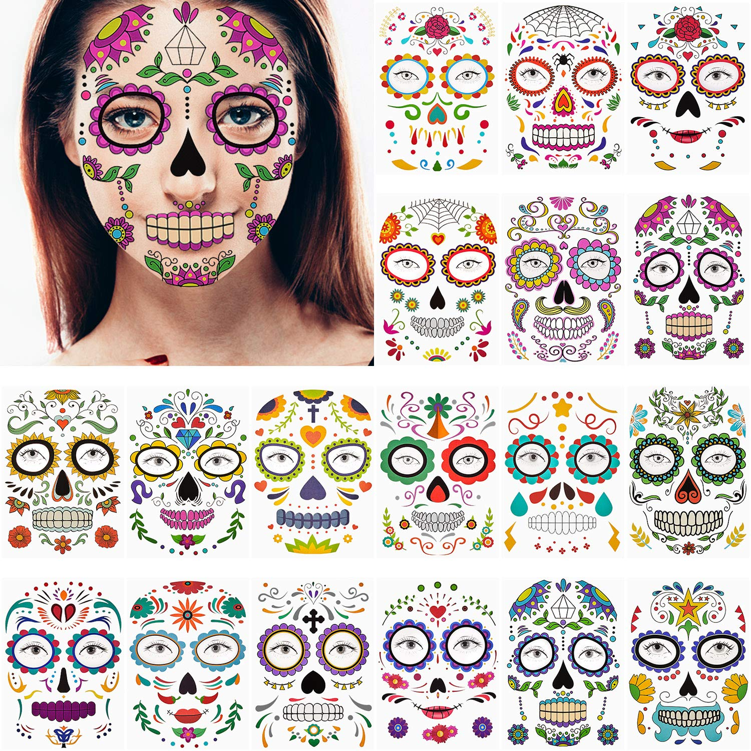 18 Sheets Halloween Face Temporary Tattoos Waterproof Makeup Stickers Sugar Skull Floral Black Skeleton Web Red Roses Face Tattoos for Women Men Kids Halloween Party Favor Supplies
