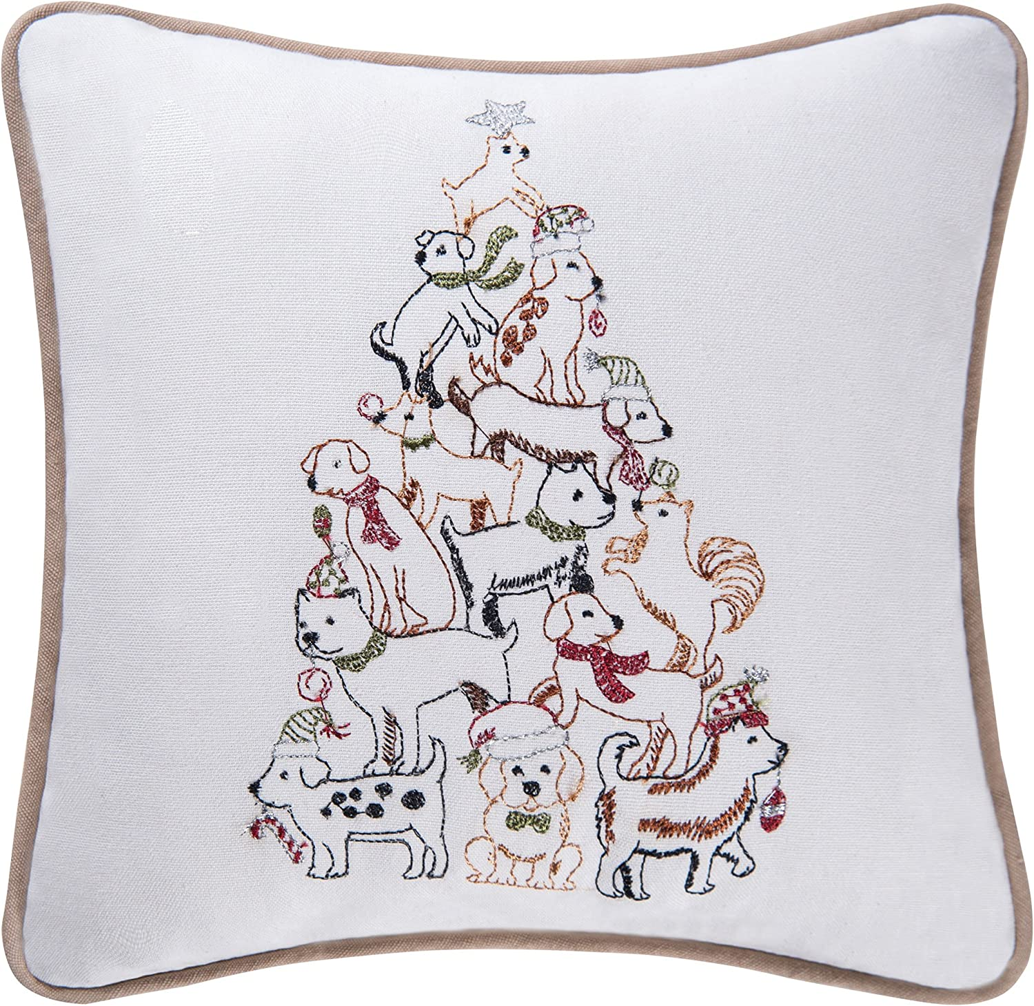 C&F Home Puppy Dog Christmas Tree Pillow Holiday Xmas Winter Gift Present Embroidered Saying Decorative Accent Pillow 10 x 10 Multi