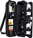 ALLCAMP Wine tote Bag with Cooler Compartment,Picnic Set Carrying Two sets of tableware