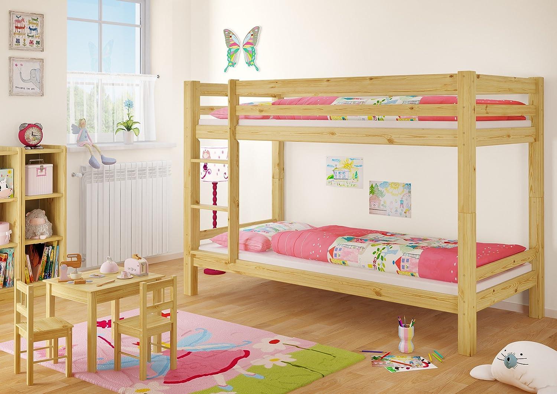 Letto a castello 90x200 per bambini in Pino massello Eco divisibile con assi di legno 60.09-09