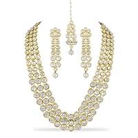 Karatcart Anushka Sharma Bollywood Inspired Traditional Kundan Pearl Necklace Set for Women with Freebie Maang-Tikka