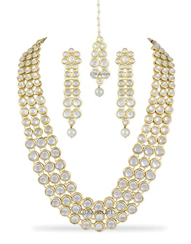 d54ed056e Buy Karatcart Anushka Sharma Inspired Traditional Kundan Pearl Necklace Set  for Women with Freebie Maang-Tikka Online at Low Prices in India