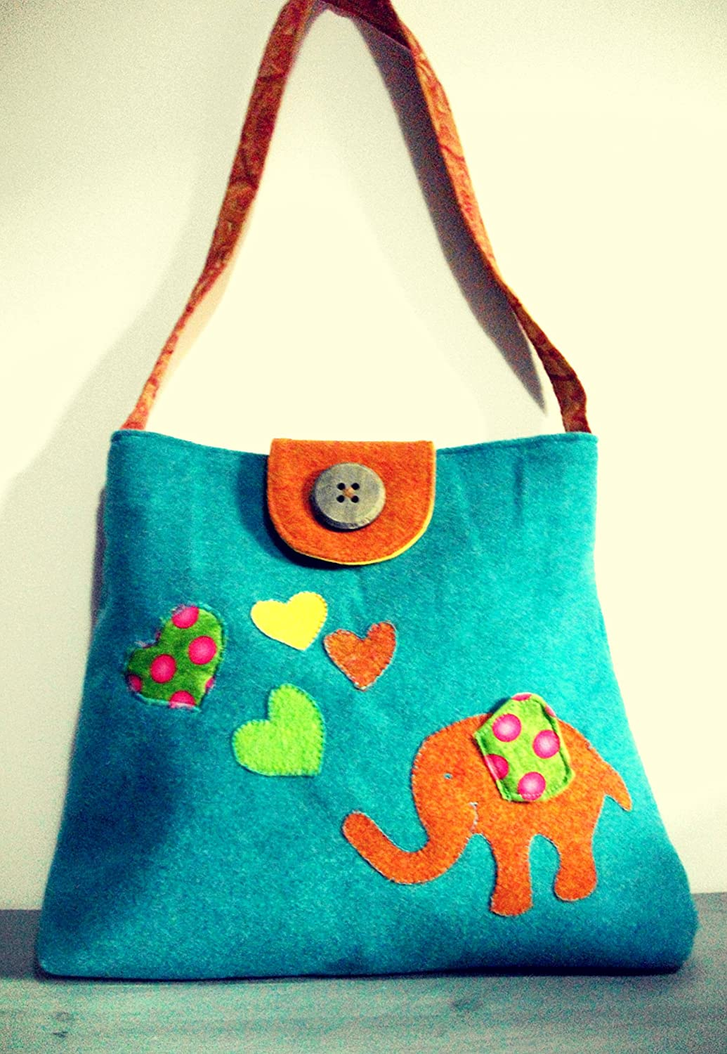 Diaper bag, Changing bag in Felt and cotton Batik with Elephant and hearts