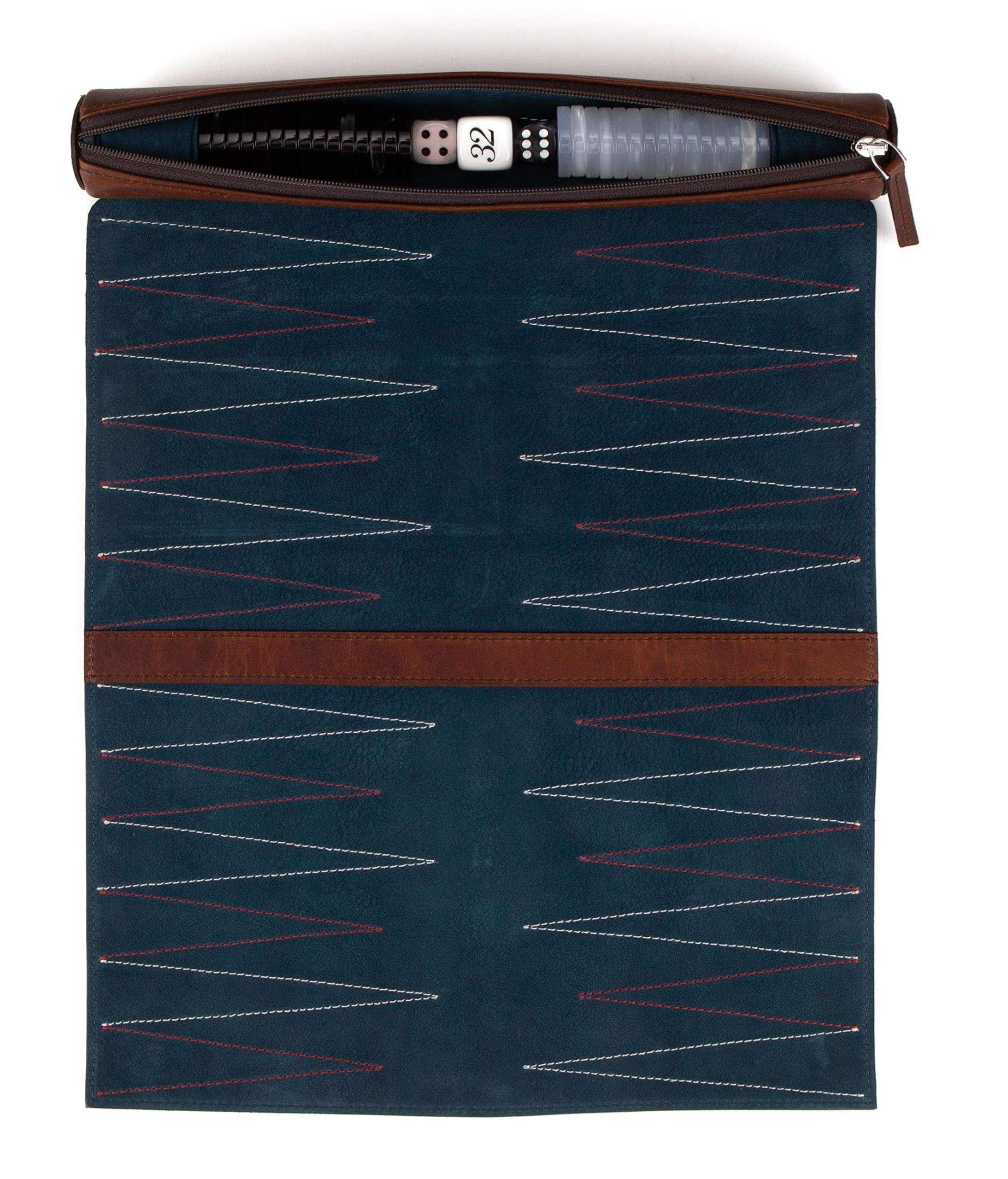 Moore and Giles Luxury Leather Travel Backgammon Set, Baldwin Oak by Moore and Giles (Image #8)