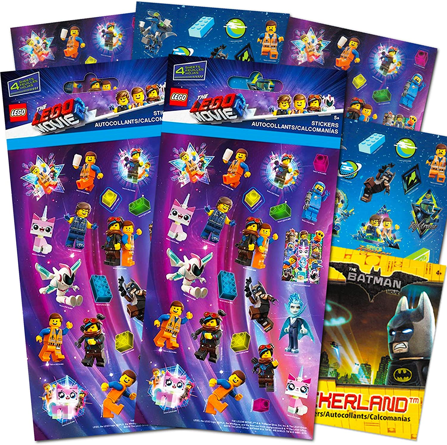 Lego Movie 2 & Batman Stickers Party Supplies Set ~ 14 Lego Batman & Lego Movie 2 Party Favors Sheets (300+ Stickers)