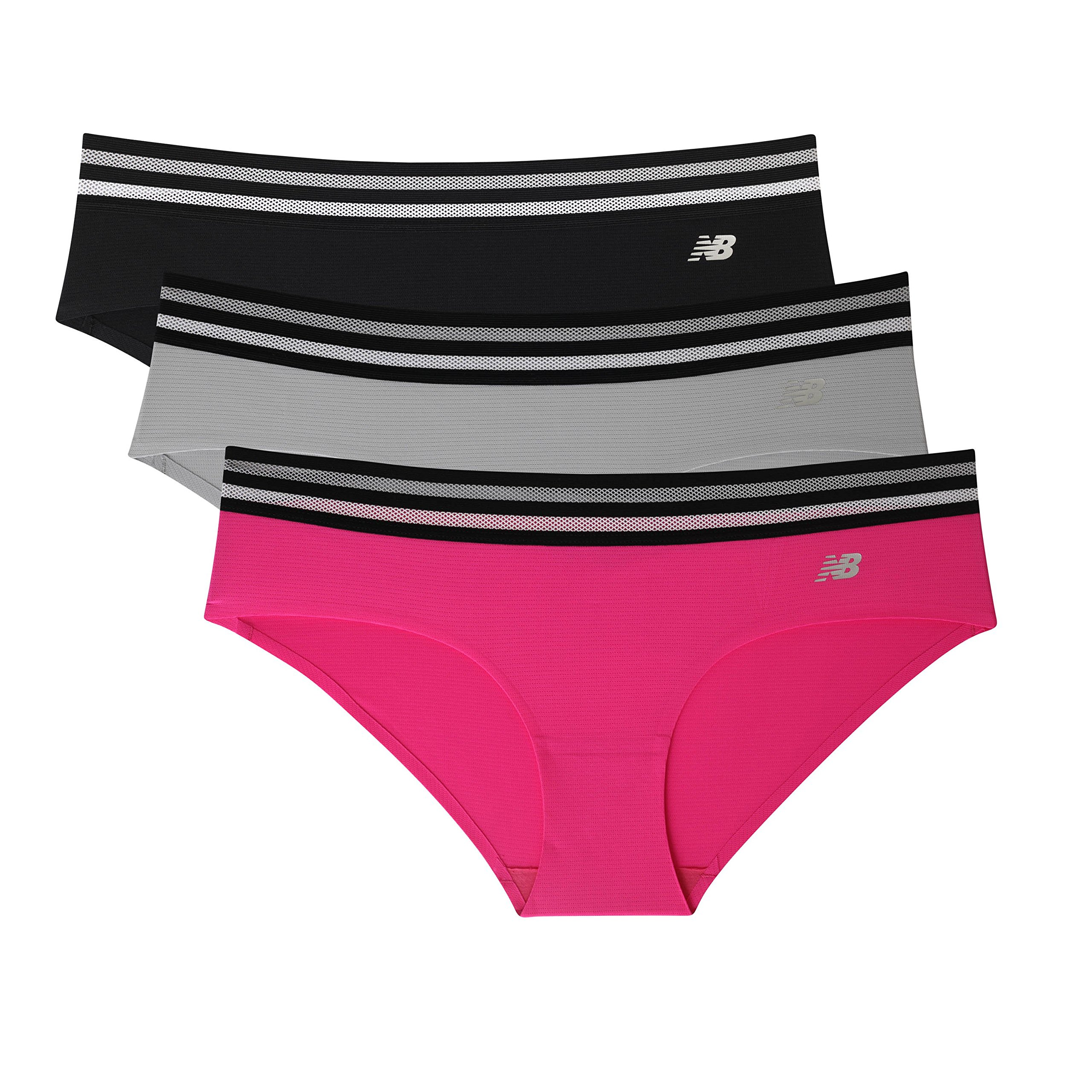 New Balance Womens Athletic Mesh Hipster Underwear (Pack Of 3),Pink/Silver/Black,X-Large/16
