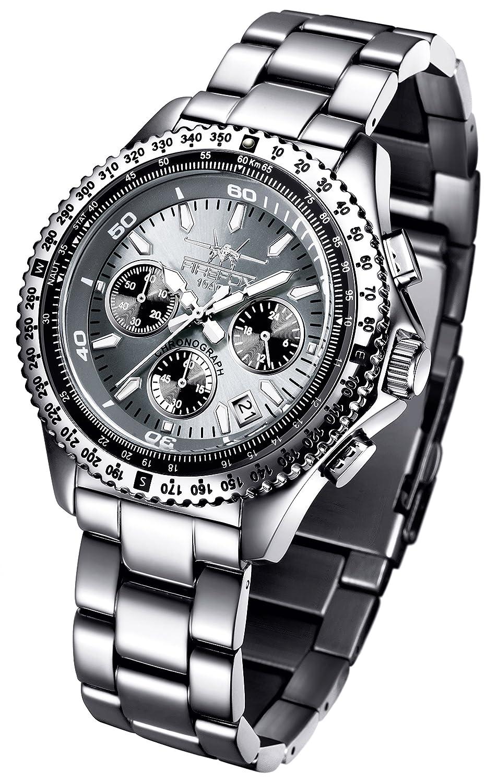 FIREFOX RACER FFS15-104 titangrau Herrenuhr Armbanduhr Chronograph massiv Edelstahl Sicherheitsfaltschließe 10 ATM
