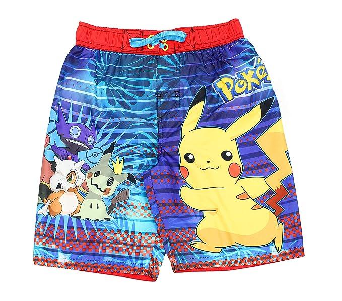 bd0dd1559e658 Amazon.com: Pokemon Pikachu Boys Swim Trunks Swimwear (Little Kid ...