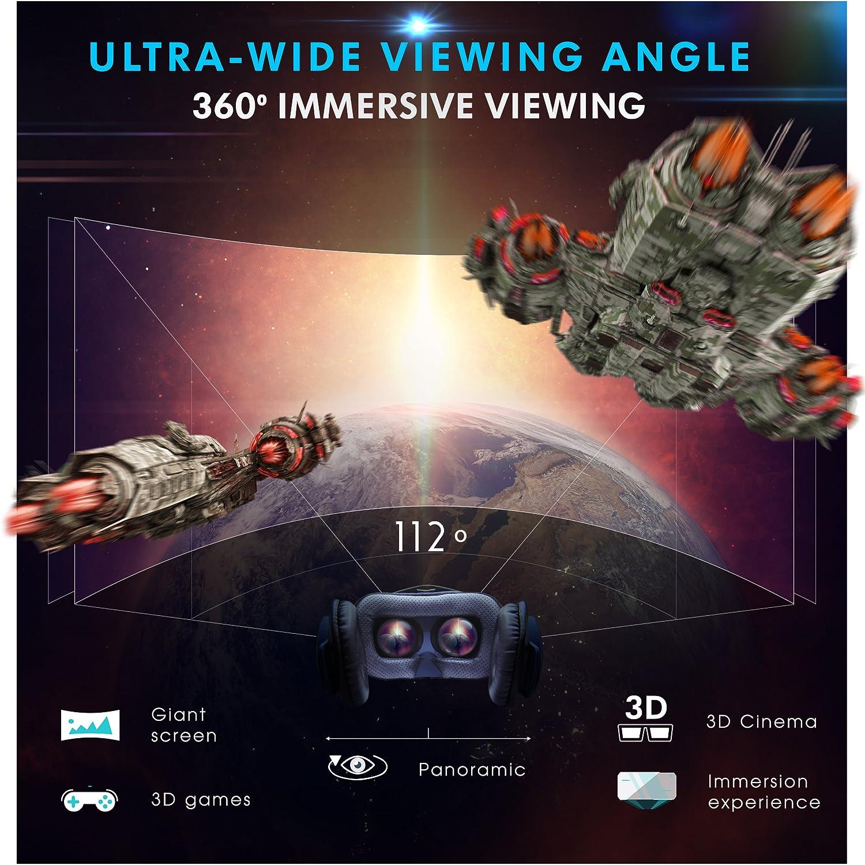 C/ómodas y Ligeras 357g Con Auriculares Apple Iphone Samsung LG Huawei Sony Pantallas 4-6.3 Juegos y Videos 3D CURVAN VR Gafas 3D de Realidad Virtual Para Movil IOS y Android