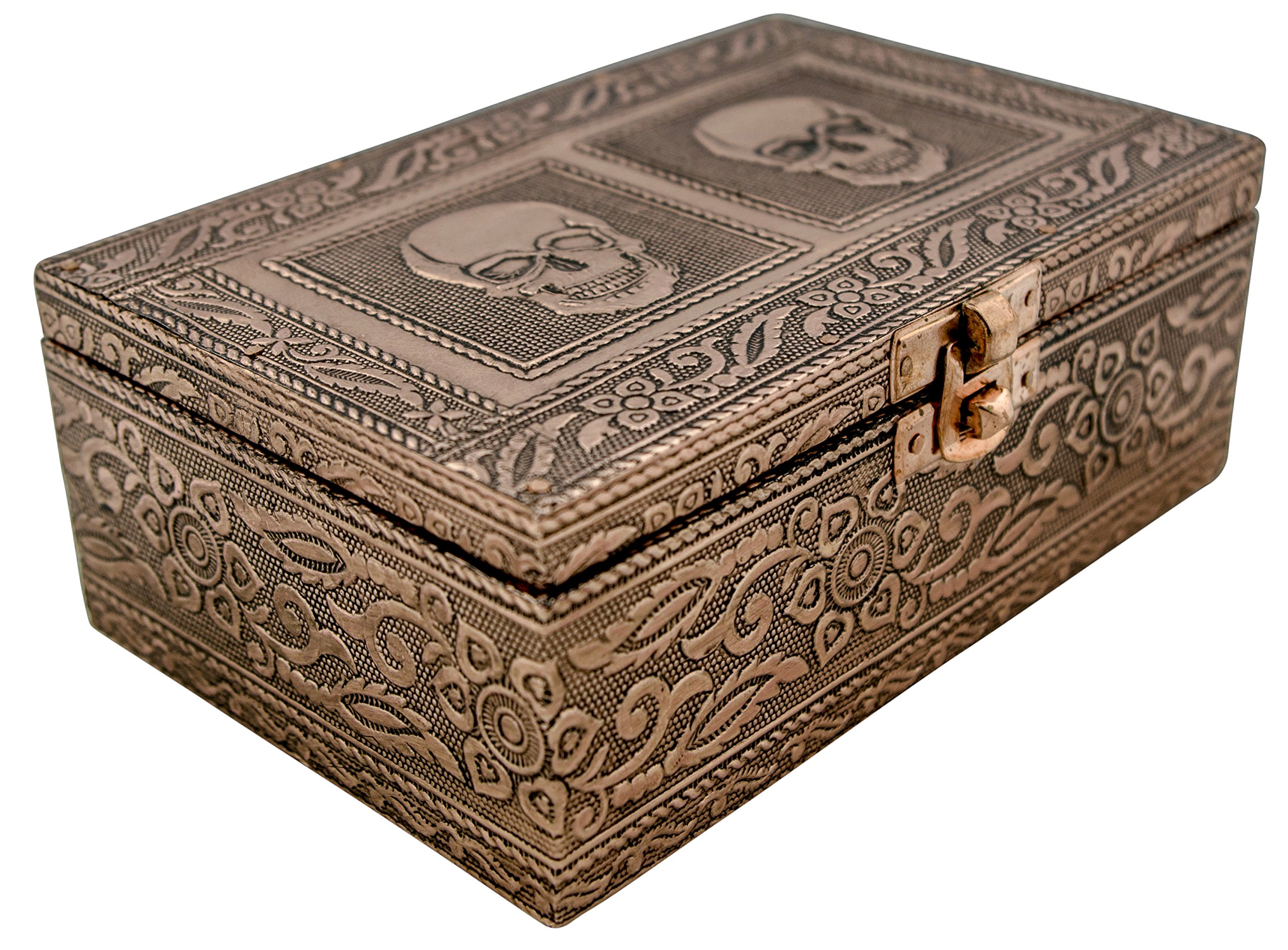 VGI Elegant Jewelry Box with Hammered Metal Cladding and Soft Fabric Interior (Skull, Copper Finish)