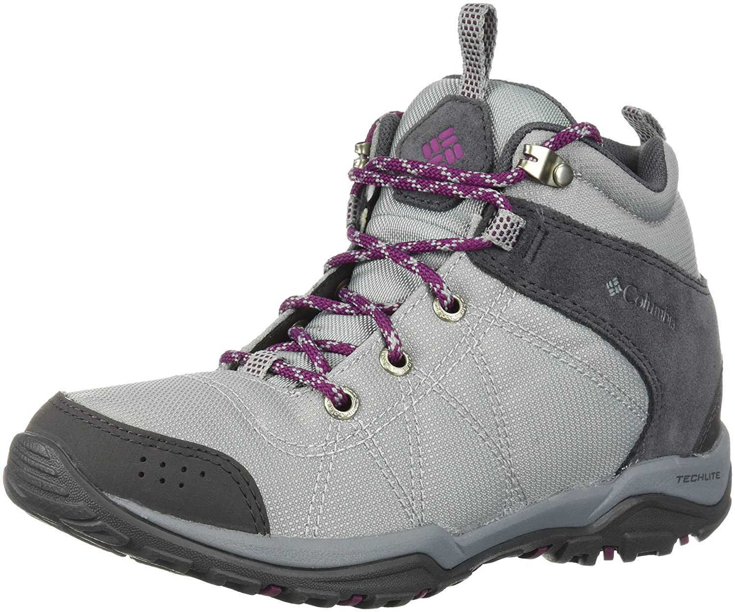 Columbia Women's Fire Venture Mid Textile Hiking Boot B073RN2J6Y 7.5 B(M) US|Earl Grey, Dark Raspberry