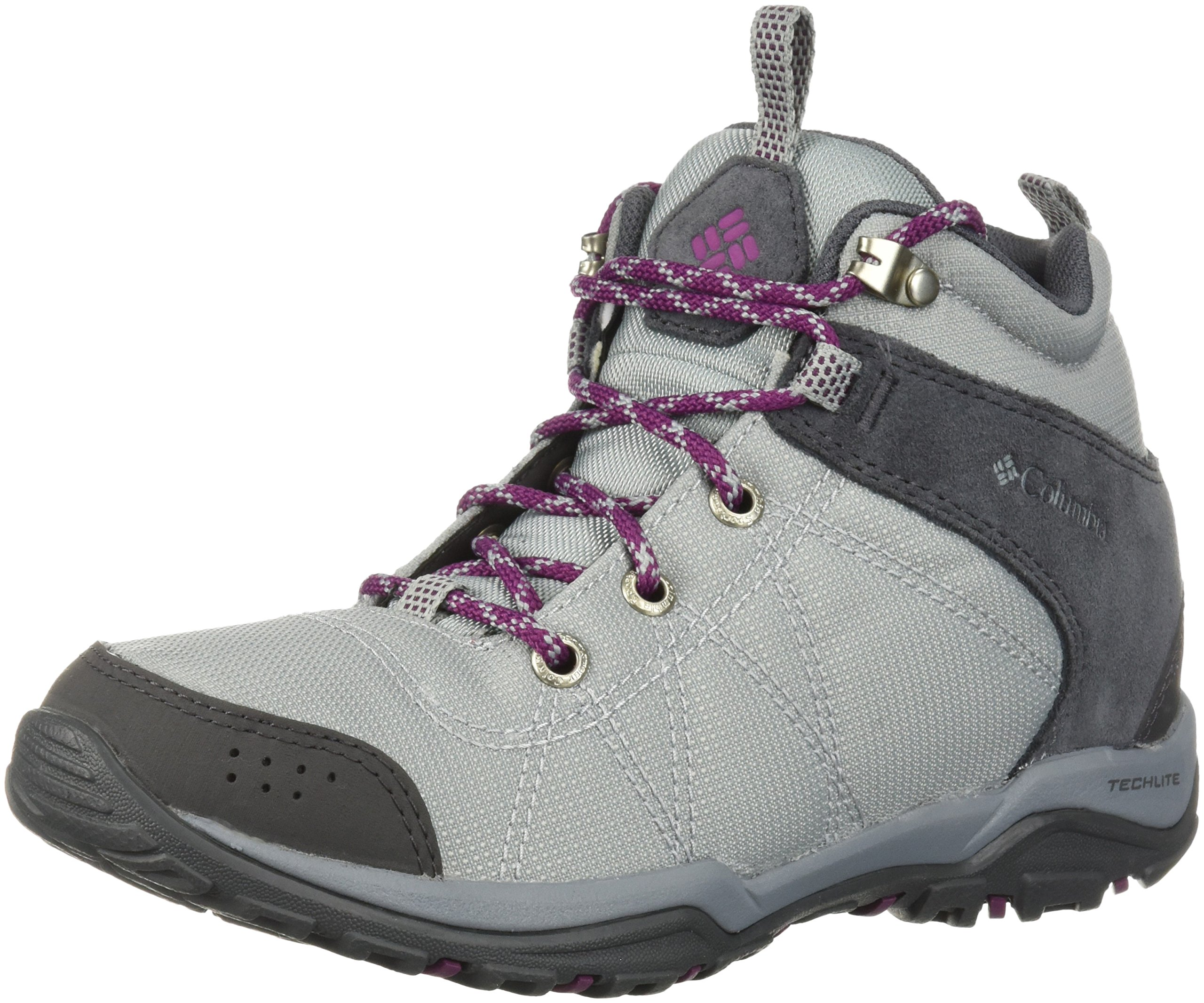 Columbia Women's Fire Venture Mid Textile Hiking Boot, Earl Grey, Dark Raspberry, 11 Regular US