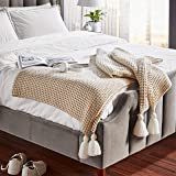 Amazon Brand – Rivet Chenille Knit Tassel Throw Blanket - 80 x 60 Inch, Natural