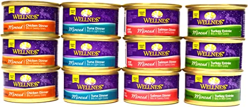 Wellness Minced Grain-Free Wet Cat Food Variety Pack – 4 Flavors Salmon, Tuna, Turkey, and Chicken – 12 3 Ounce Cans – 3 of Each Flavor