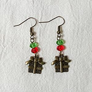 Antique Bronze Christmas Earrings