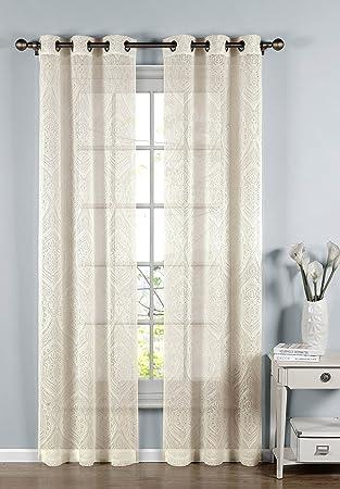 Window Elements Elena Cotton Blend Burnout Sheer 76 x 96 in. Grommet Curtain Panel Pair, Ivory