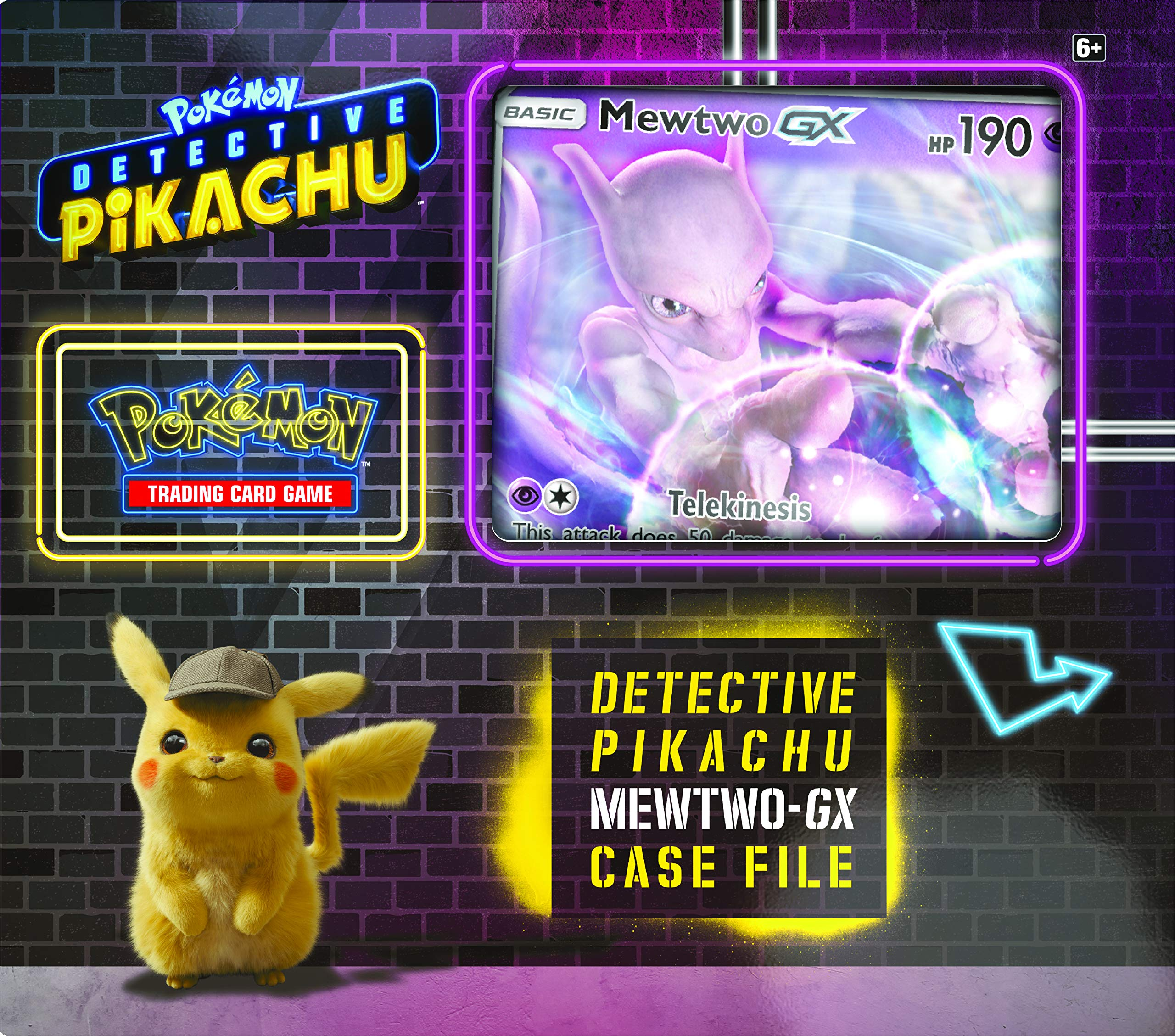 Pokemon TCG: Detective Pikachu Mewtwo-Gx Case File + 6 Booster Pack + A Foil Promo Gx Card + A Oversize Gx Foil Card by Pokemon Cards (Image #1)