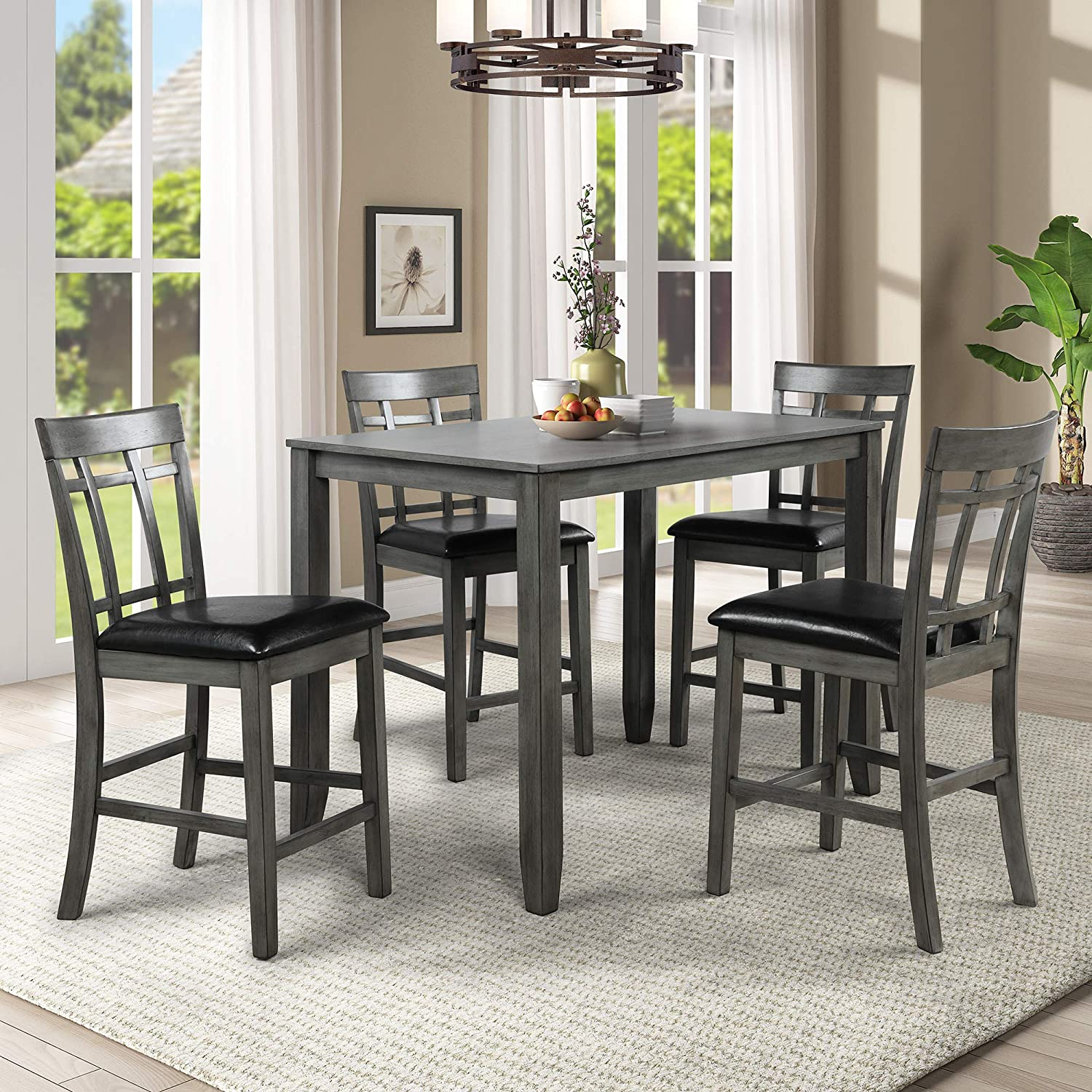 Amazon Com Harper Bright Designs 5 Piece Wood Dining Table Set Vintage Rectangular Counter Height Bar Table With 4 Chairs For Dining Room Pub And Bistro Antique Graywash Table Chair Sets