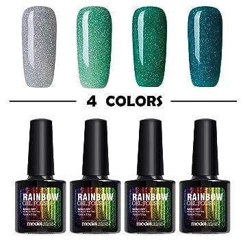 Amazon Modelones Gel Nail Polish Glitter Green Set Sparkle