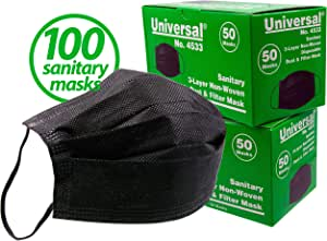 Universal 4533 3-Layer Non-Woven Sanitary Dust Masks,100 Count - for Non-Toxic Dust, Pollen, Dander, Sawdust, Garage Dust, Garden and General Household Irritants