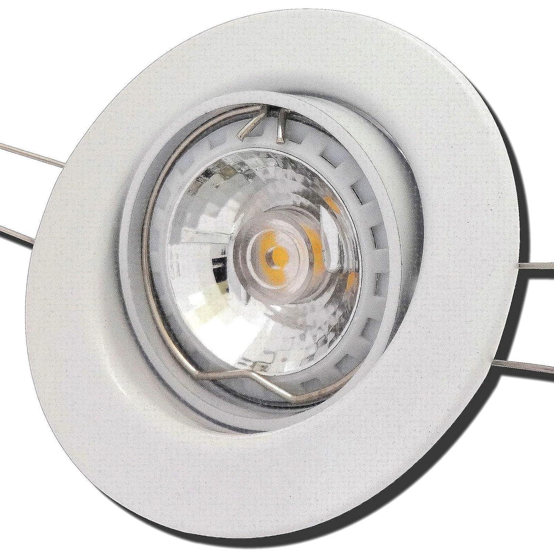 8 Stück MCOB LED Einbauspot Elena 230 Volt 3 Watt Schwenkbar Weiß Warmweiß
