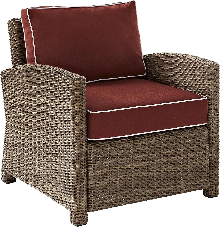Crosley Furniture KO70023WB-SG Bradenton Outdoor Wicker Arm Chair, Brown with Sangria Cushions