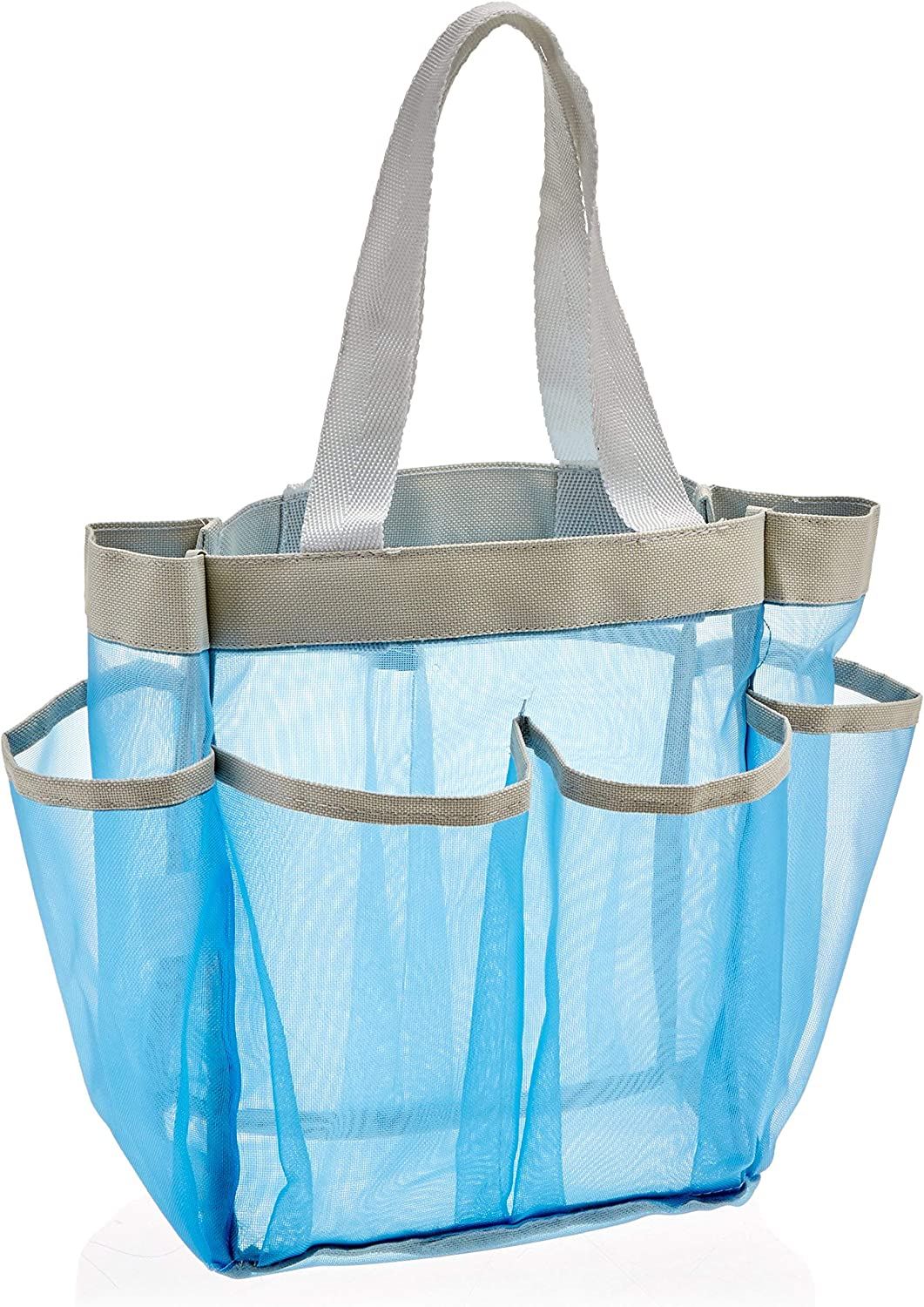 Quick Dry Shower Tote, 7-Pocket, Blue