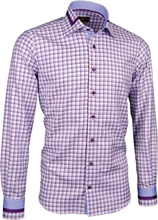 Giorgio Capone Camisa Premium para Hombre, Cuadriculado Azul ...