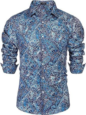 COOFANDY Camisa de vestir floral para hombre, ajustada, casual, estampado de cachemira, manga larga, con botones - Azul - XX-Large: Amazon.es: Ropa y accesorios