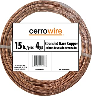 product image for CERRO 050-4400A3 15-Feet 4-Gauge Bare Stranded Copper Wire, Foot