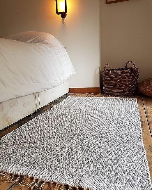 Alfombra de algodón natural con flecos de yute, reversible, lavable a máquina, 120 x 180 cm, color crema y blanco: Amazon.es: Hogar