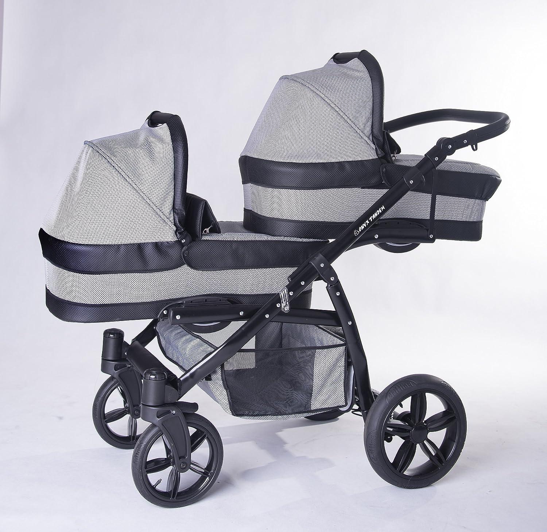 Carro gemelar 3en1 ISOFIX. Capazos+sillas+sillas de coche+Isofix+accesorios. BBtwin. Gris+cuero negro Commi