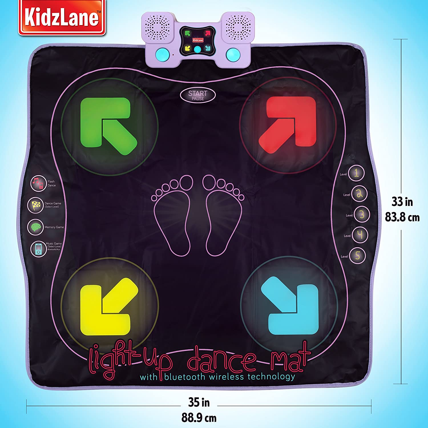 af79d8e65634 Amazon.com  Kidzlane Light Up Dance Mat - Arcade Style Dance Games with  Built in Music Tracks and Wireless Technology  Toys   Games
