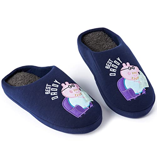 Peppa Pig Il Compleanno Di Natale.Peppa Pig Pantofole Uomo Invernali Blu Navy Best Daddy Di Papa Pig