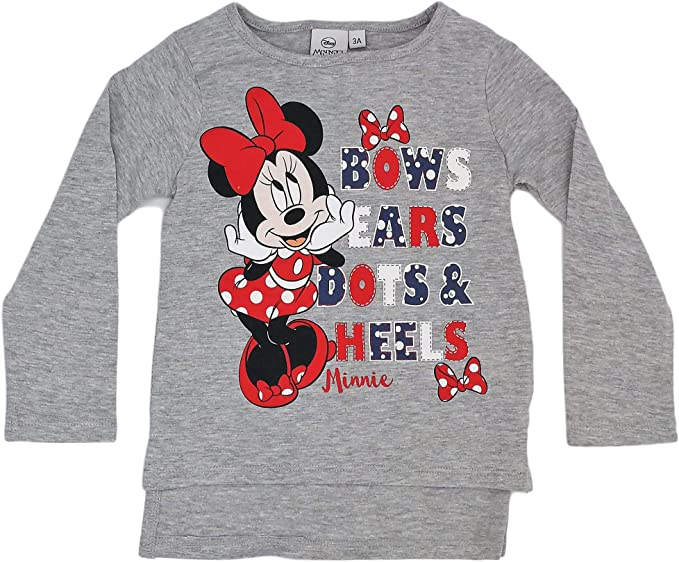 Disney Camiseta Infantil Minnie niñas Manga Larga 100% algodón (3 ...
