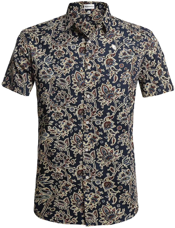 HOTOUCH Herren Hawaiihemd Hawaiishirt Urlaub Hemd Strandhemd Freizeithemd Hawaii-Print mit Kurzarm GMJ004984