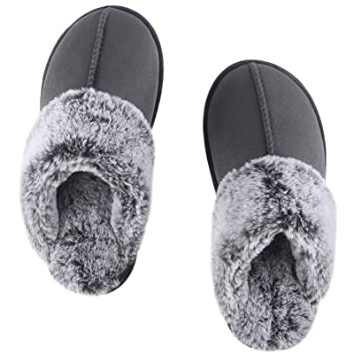 DL Women's Slippers Comfy Faux Fur Memory Foam Slip On House Slippers with Anti-Slip Rubber Sole, Indoor Outdoor Warm Plush House Shoes | Slippers
