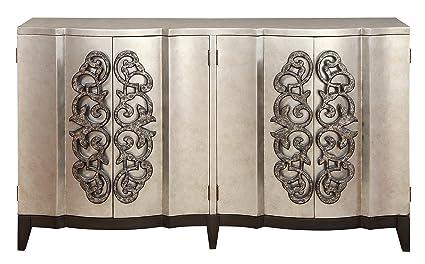 Credenza La Gi : Amazon treasure trove four door credenza silver and black