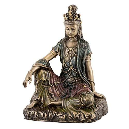 Top Collection Water and Moon Quan Yin Statue -Hand Painted Kuan Yin Goddess of Mercy and Compassion Sculpture in Premium Cold Cast Bronze- 5-Inch Collectible Bodhisattva Avalokite vara Figurine