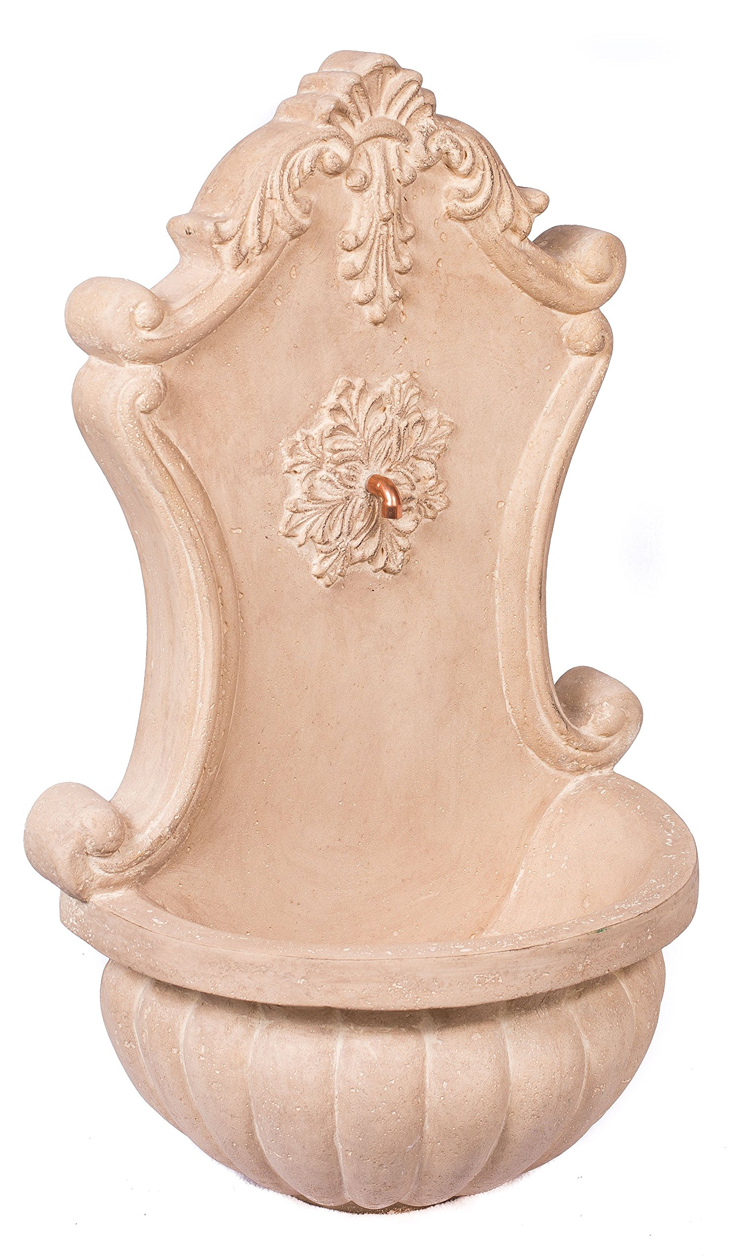 BirdRock Garden Stonecast Wall Water Fountain | Aged Limestone | Includes Water Pump