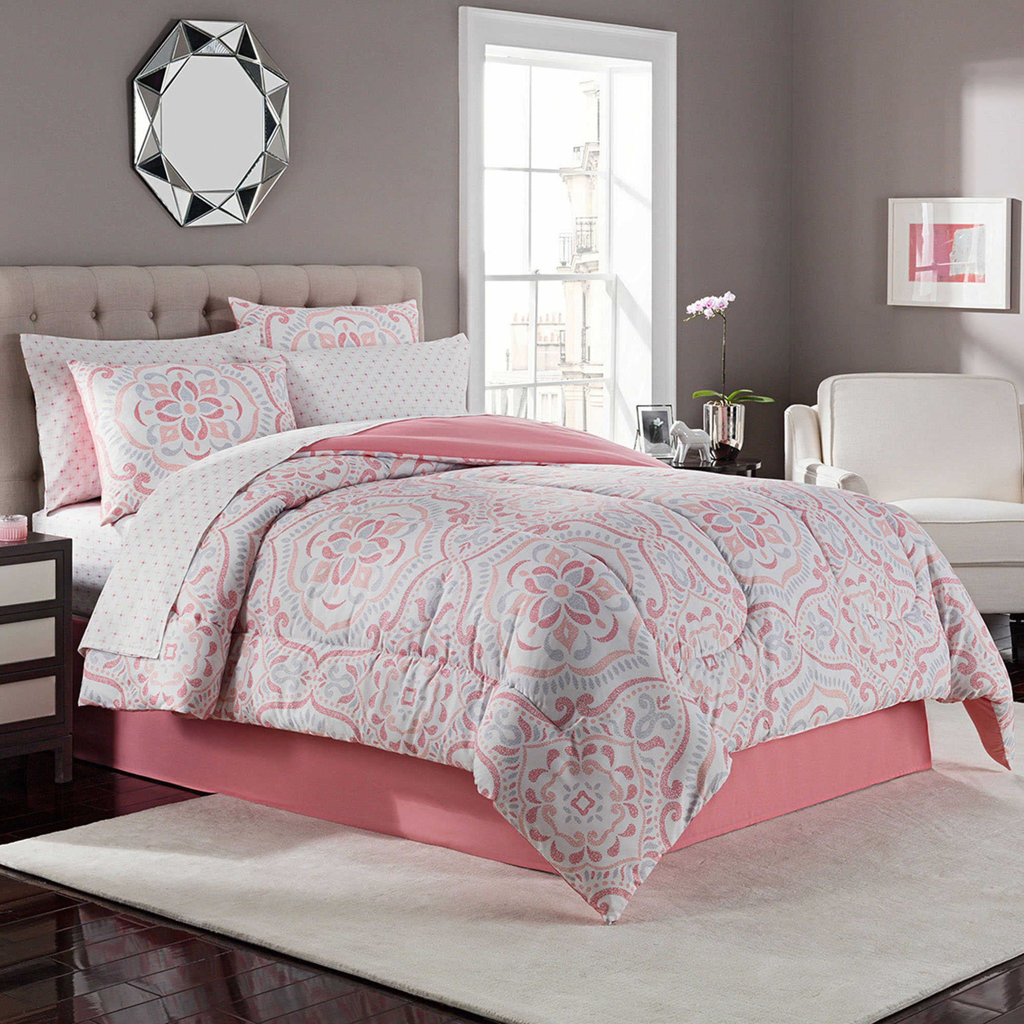 8 Piece Complete Bed Set King Juniper Coral