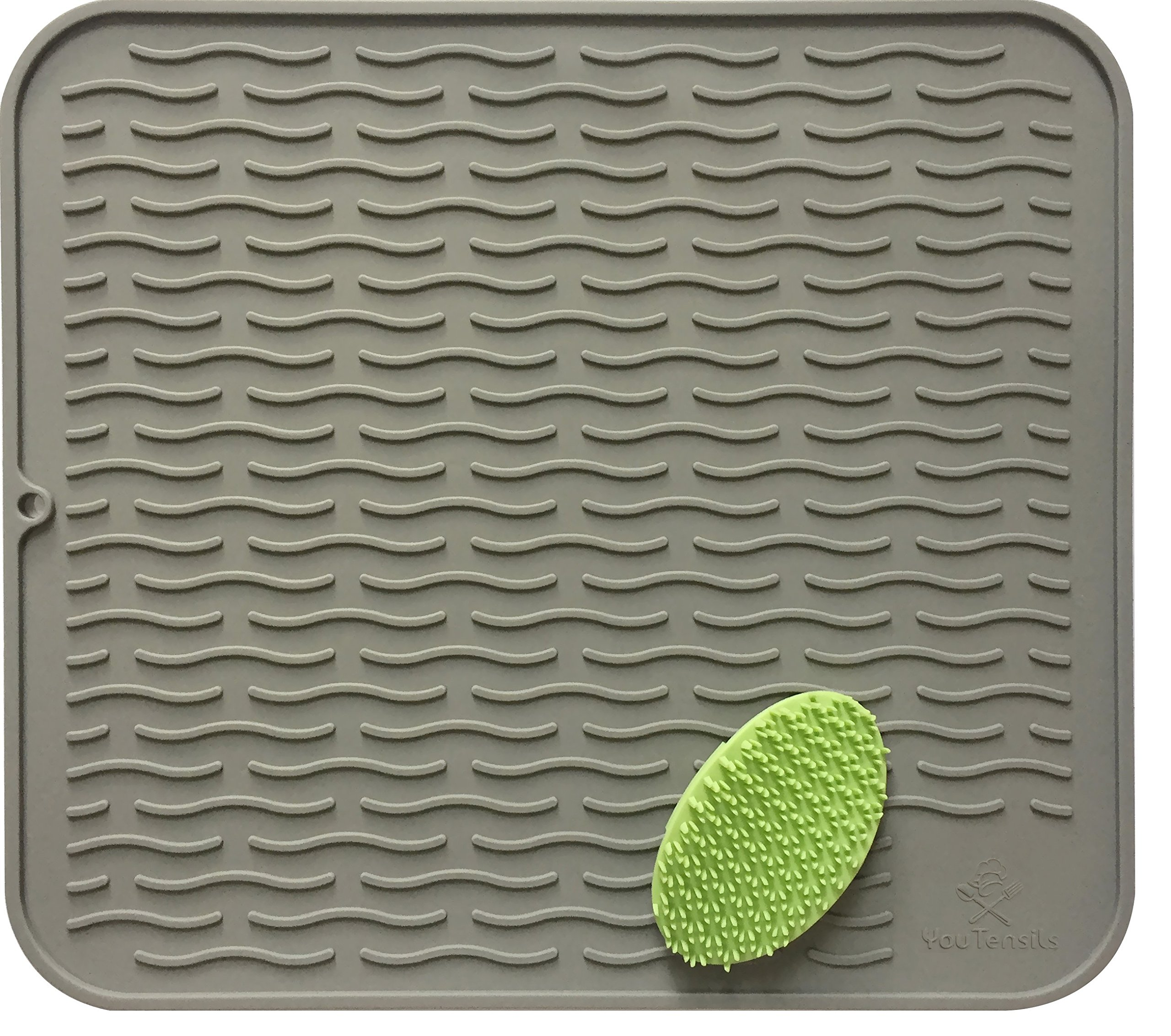 Silicone Dish Drying Mat & Scrubber | Kitchen Dish Drainer Mats & Trivet | Food Safe Fast Draining Pad for Dishes | 17.8'' x 15.8'' (XL, Grey) | Other Sizes and Colors Available