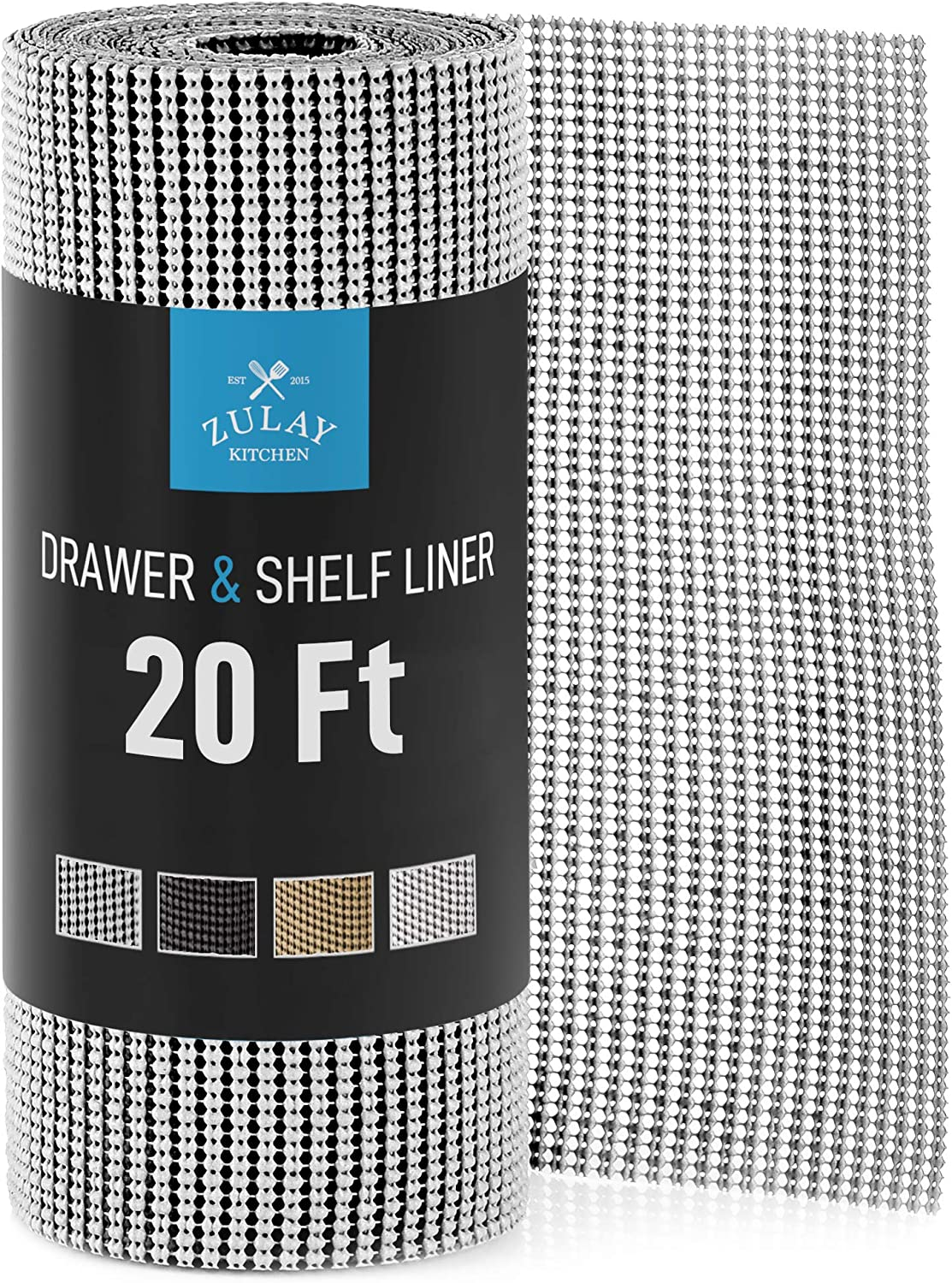 Zulay (12 Inch x 20 FT) Drawer & Shelf Liner - Non Adhesive Drawer Liner - Protective Shelf Liner Non Slip for Cabinets, Storage, Kitchen, and Tables (Light Gray)