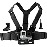 Chest Mount Harness for Gopro Hero 6, 5, Black, Session, Hero 4, Session, Black, Silver, Hero+ LCD, 3+, 3, 2, 1 – Fully Adjustable Chest Strap - Also Includes J-Hook / Thumbscrew / Storage Bag