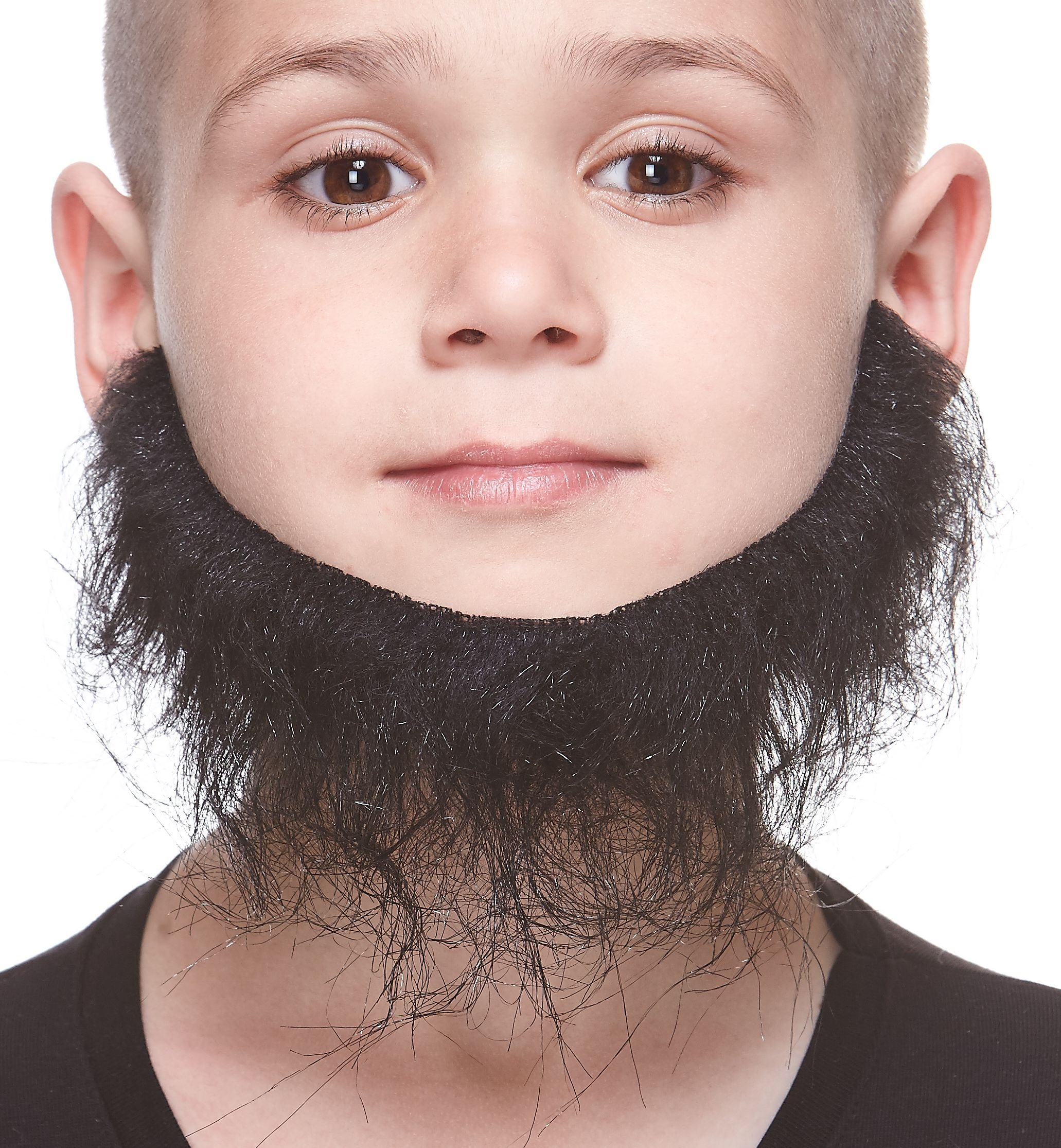 Mustaches Fake Beard, Self Adhesive, Novelty, Realistic, Small Morman False Facial Hair, Costume Accessory for Kids, Black Color