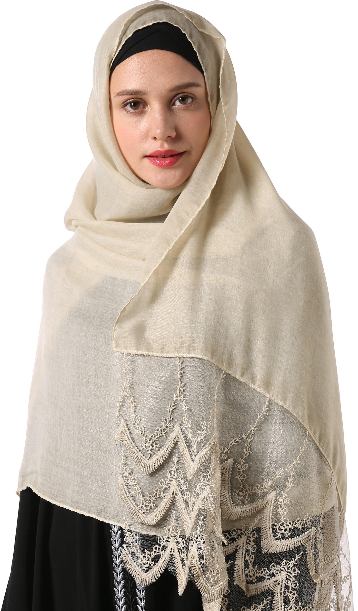 Ababalaya Women's Modest Muslim Islamic Soft Breathable Lace Headscarf Wedding Hijab 78×35 inch,Beige