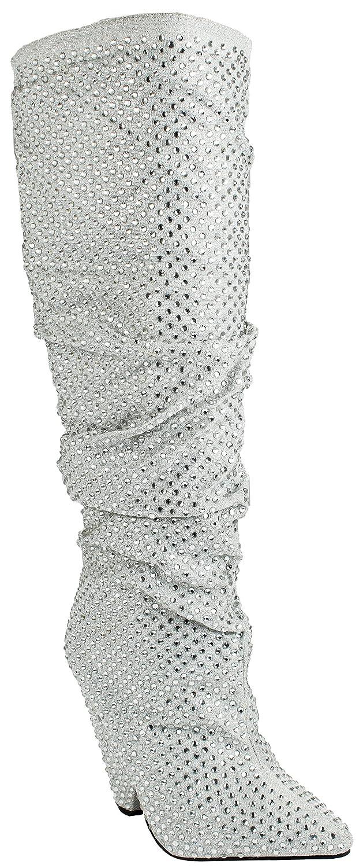 954600f6ad JJF Shoes Sexy2 Over Knee Sparkling Rhinestone Stud Stiletto Heel Hidden  Platform Boot