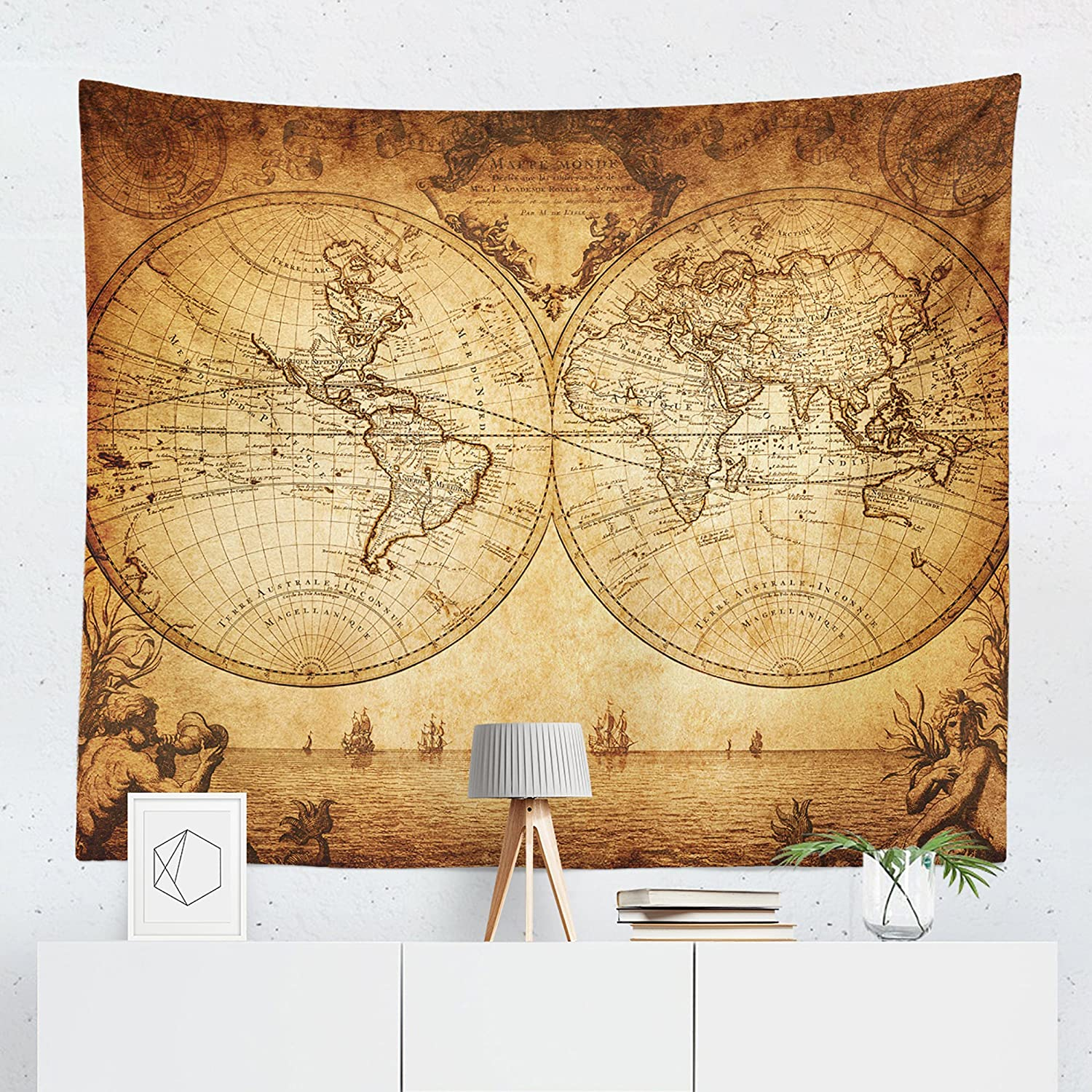 Vinage World Map Tapestry - Maps Global Antique Wall Tapestries Hanging Décor Bedroom Dorm College Living Room Home Art Print Decoration Decorative - Printed in the USA - Small Medium Large Sizes