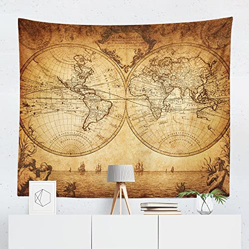 small world map tapestry Amazon Com Vintage World Map Tapestry Wall Hanging Maps Global